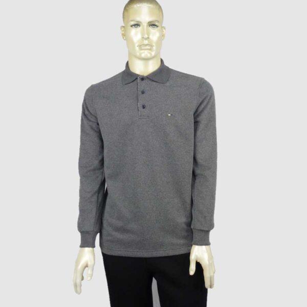Ανδρική polo μπλούζα μακρύ μανίκι μονόχρωμη
